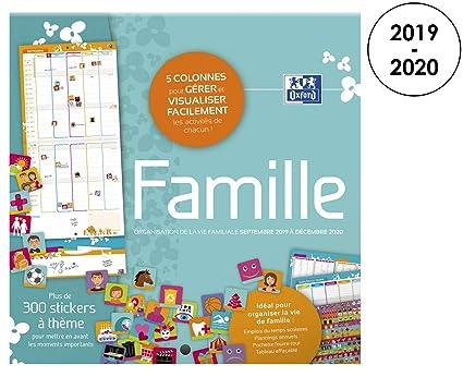 Calendrier Planning 2019.Oxford 100738163 Calendrier Mural 2019 2020 Planning Familiale 16 Mois Format 30 X 30cm 1 Mois Sur 2 Pages Couleur Bleu