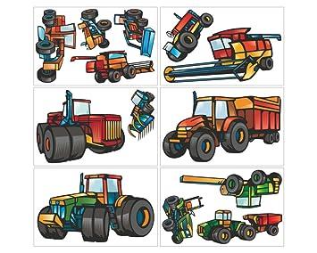 Plot4u 13 Teiliges Trecker Traktor Und Fahrzeug Set Wandtattoo Mähdrescher Kinderzimmer  Wandsticker In 3 Größen
