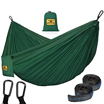 KEPEAK Camping Hammock Double & Single Portable Hammocks with Tree Straps, Lightweight Nylon Parachute for Indoor Outdoor Backpacking Survival, Backyard, Patio, Travel: Sports & Outdoors