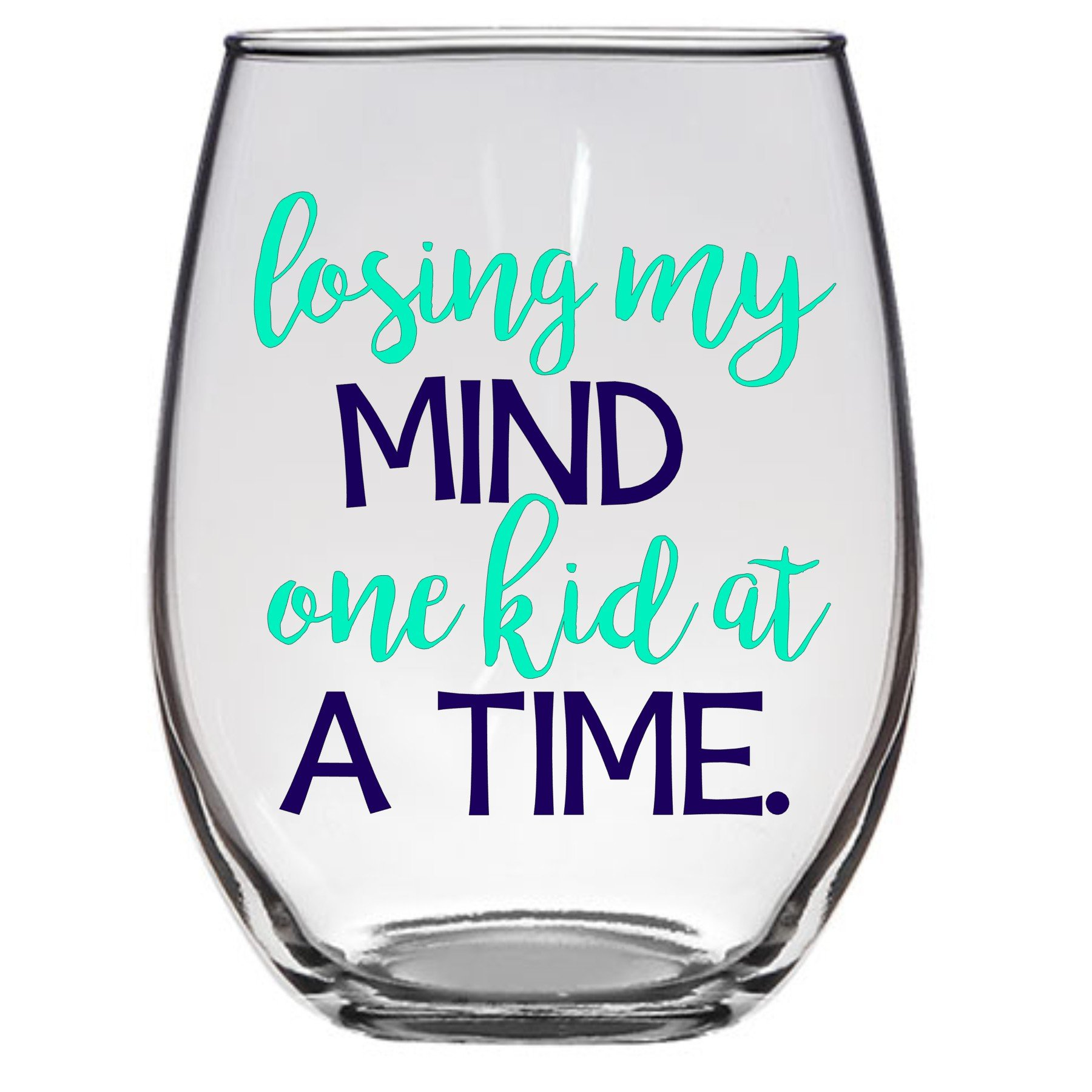 Losing My Mind One Kid at a Time Large Stemless Wine Glass 21 oz Funny Mom Gift