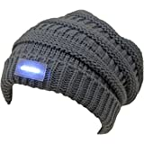 Funky Junque's C.C Solid Ribbed Day/Night Reversible LED Flash Light Beanie Hat