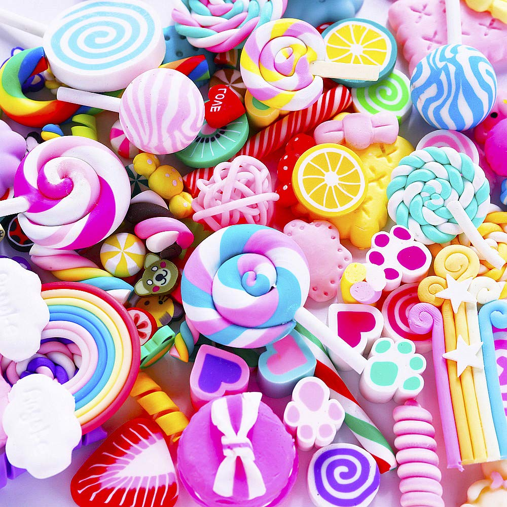 Slime Charms Cute Set - 100pcs Charms for Slime Assorted Fruits Rainbow Lollipop Polymer Clay for Craft Making, Ornament Scrapbooking DIY Crafts