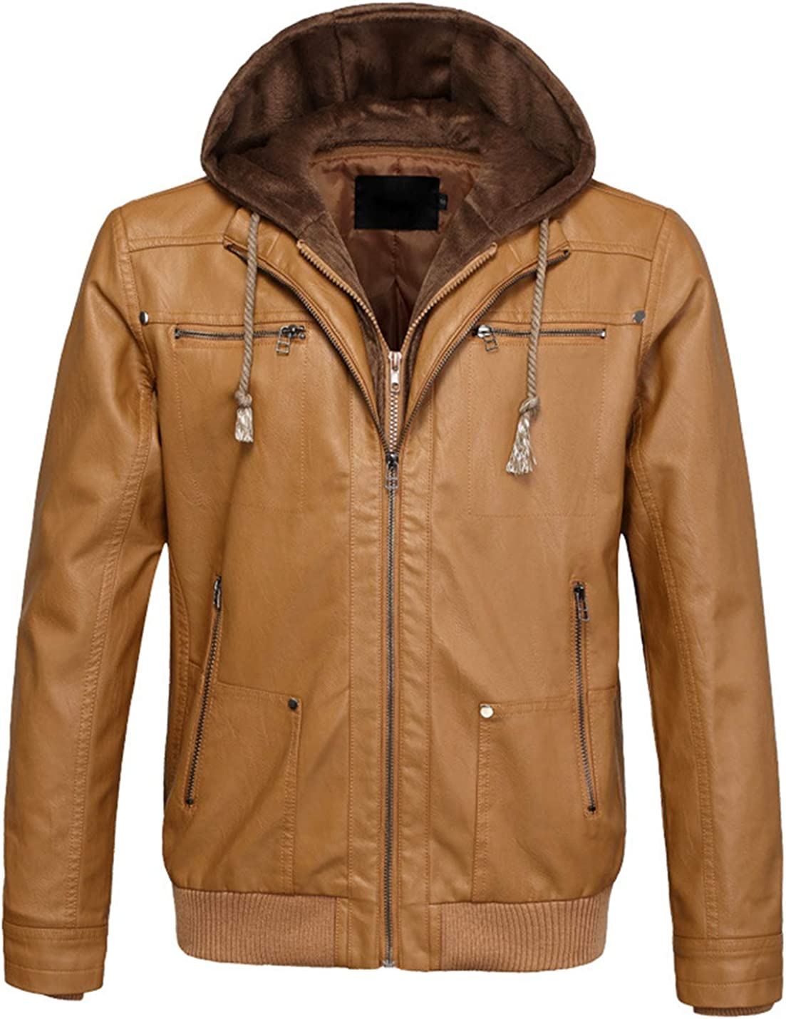 Gihuo Mens Faux Leather PU Hooded Motorcycle Jacket
