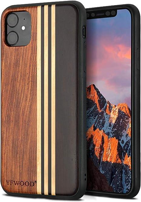 TENDLIN Cover iPhone 11 Legno con Carbonio e Pelle Custodia