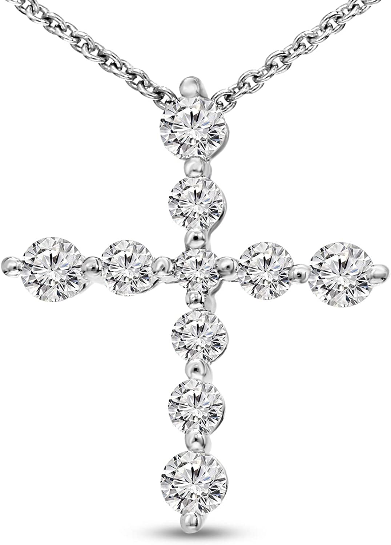 Diamond Medium Cross Pendant 1//5ct 10k White Gold
