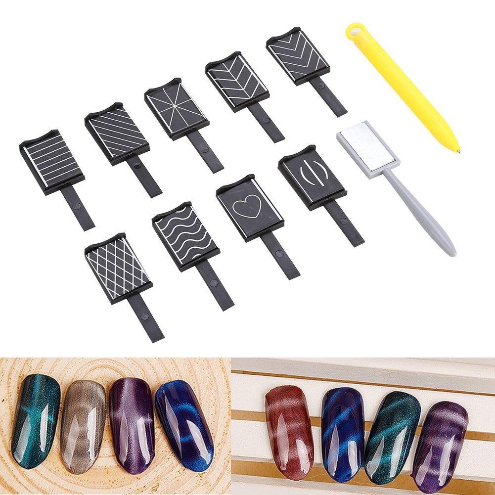 11-piece Nail Art Magnet 3D Cat-eye Magnet LED Polishing Soaking UV Gel Tools Glue Stick Magnet Manicure Nail Tool Salmue