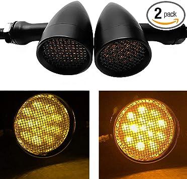 2X 14 LED MOTORCYCLE MOTORBIKE TURN SIGNALS INDICATORS BLINKER AMBER LIGHT BLACK