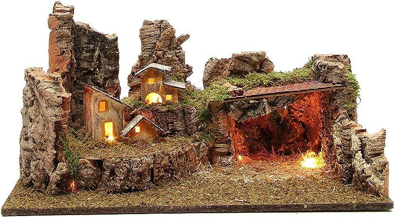 Holyart Grotta presepe con Paesaggio e luci 28x58x32 cm: Amazon.it