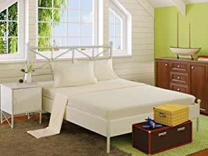 Snooze Plain Flat Bedsheet 220x240 cm with 2 Pillowcases 50x70 cm - Off White
