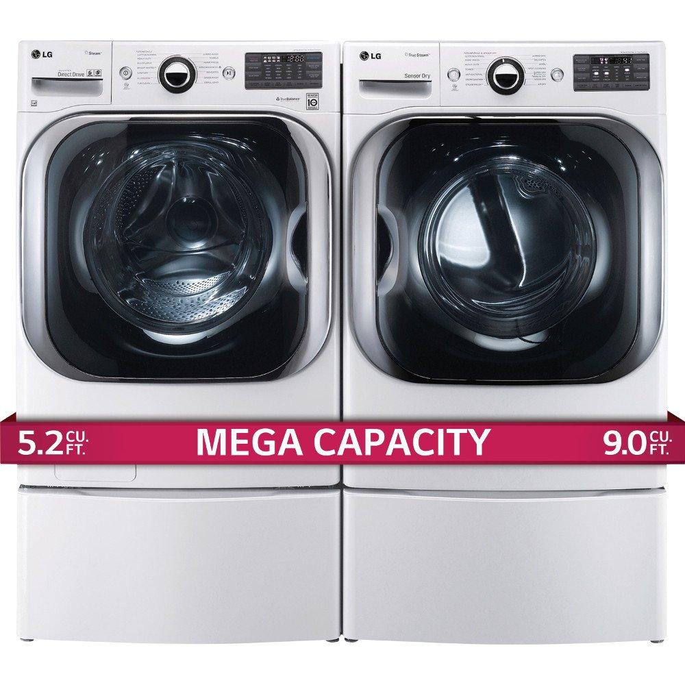 amazoncom lg titan laundry pair mega capacity washer gas dryer and pedestal package wm8000hwa dlgx8001w wdp5w appliances