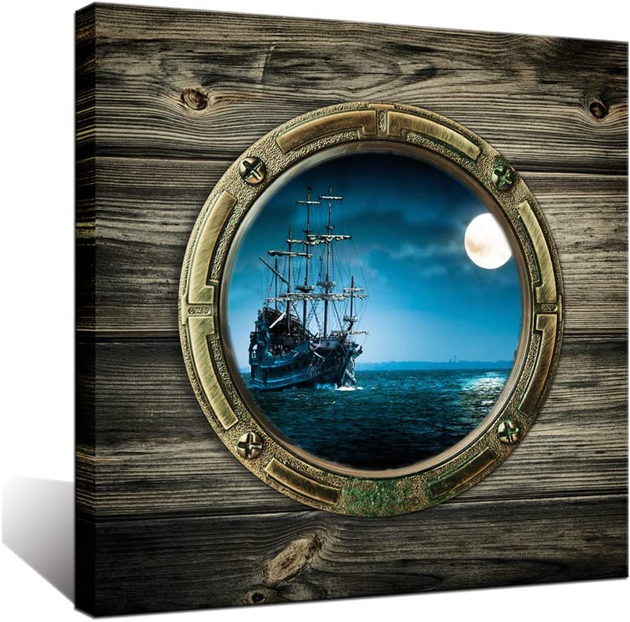 Biuteawal - Full Moon Night Ocean Window View Canvas Wall Art Sailing Boat Picture Seascape Painting Prints Contemporary Artwork for Home Office Decor Gallery Wrapped Ready to Hang
