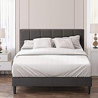 Zinus Lottie Double Bed Frame Platform | Classic Square Stitched Fabric Headboard | Solid Wood Slats - Dark Grey