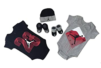 a8f1ae3252a4c Nike Michael Jordan 23 Jumpsuit 5 pcs infant Layette Sets (BLACK AND GREY)