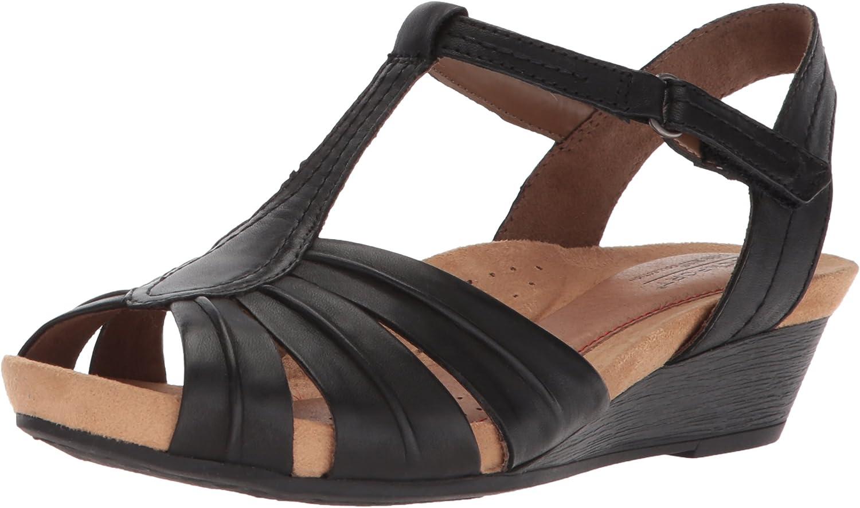 Cobb Hill Women's Hollywood Pleat T Sandal, Black Leather, 10 M US