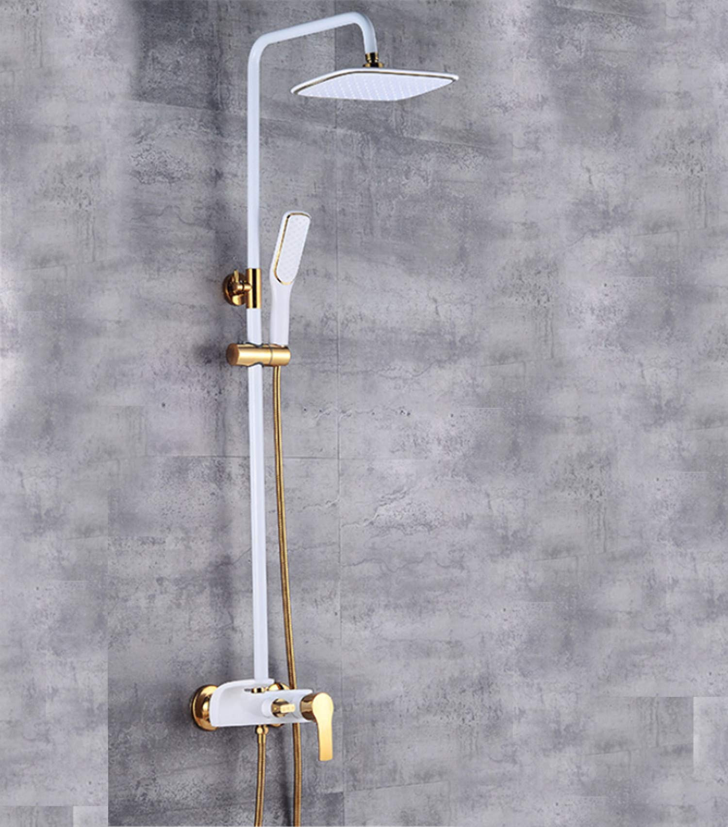 UNIQUE-F Control Shower System Luxury Set Top Spray Rainy Rotating Third Gear Adjusting Portable Lifting Rod 2 Colors