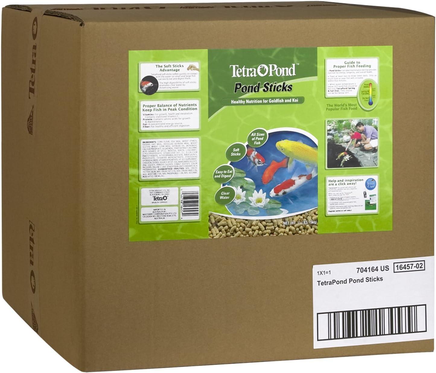 TetraPond Pond Sticks 11 Pounds, Pond Fish Food, For Goldfish And Koi, 11.00 lb, 40 L (16457)