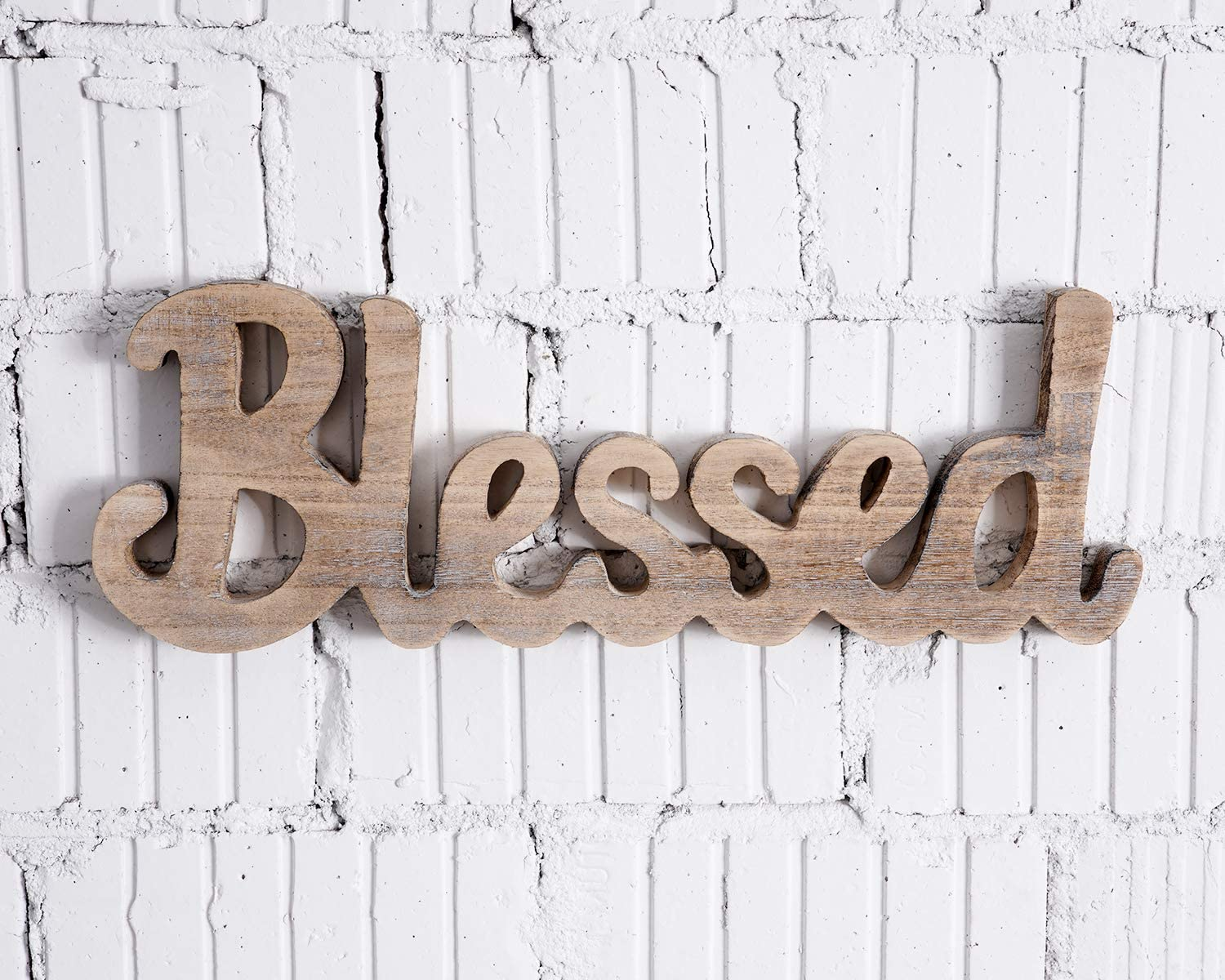 CHICVITA Blessed Freestanding Cutout Sign Made of Natural Wood, Rustic Home Gallery Wall Decor