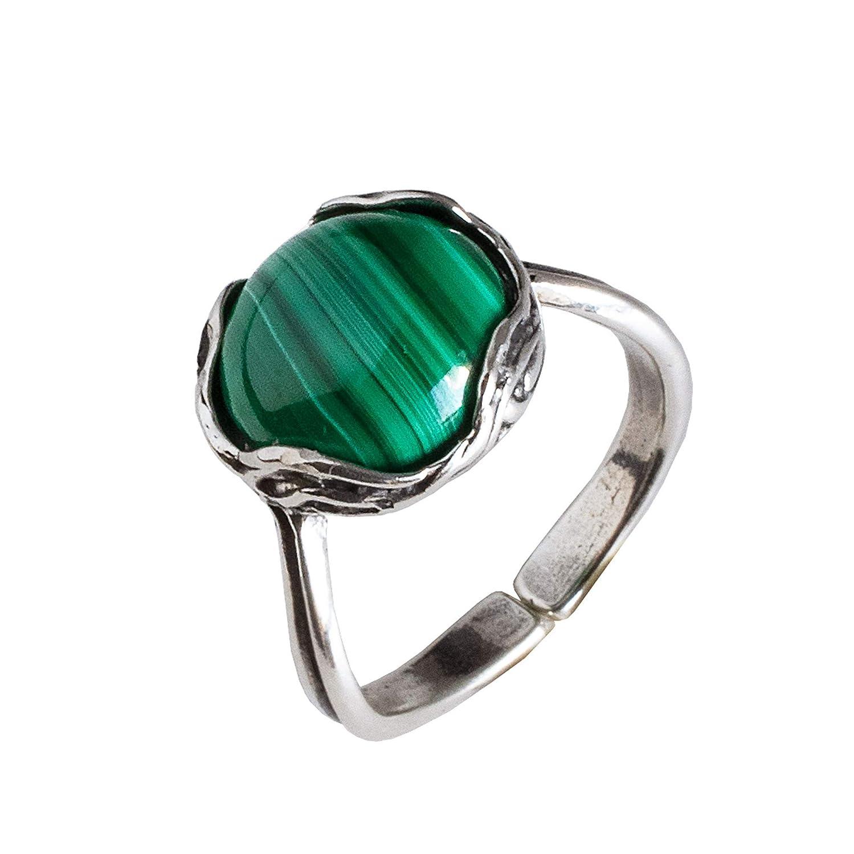 Malachite Ring Sterling Silver size 5