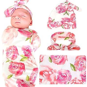 d5185b0e154 Amazon.com  Newborn Baby Swaddle Blanket Hospital Hat and Headband Value  Set