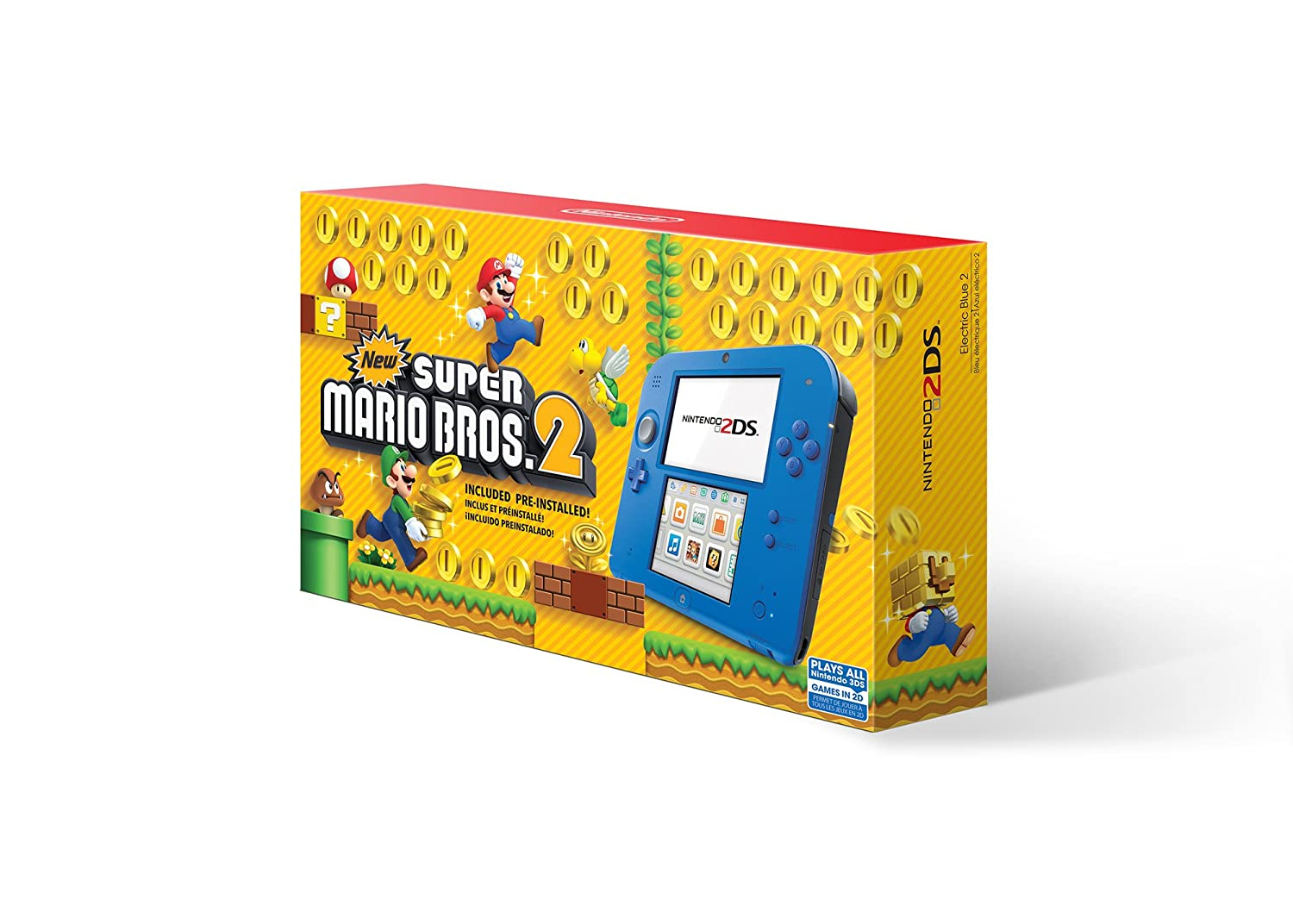 Nintendo 2DS – Electric Blue 2 with New Super Mario Bros. 2 Game Pre-Installed – 2DS