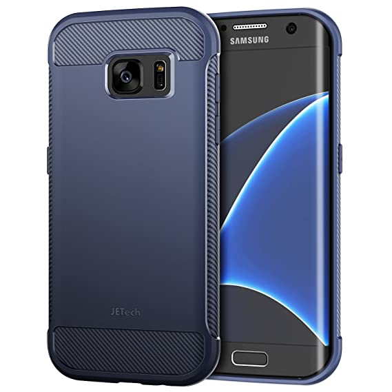 JETech Case for Samsung Galaxy S7 Edge Protective Cover with Shock-Absorption and Carbon Fiber Design (Blue)