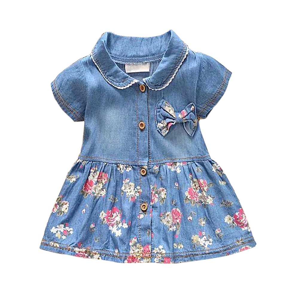 EZB Baby Girls Floral Print Denim Tea Dress