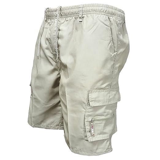 a6ae70076b Lookwoild Mens Casual Cargo Shorts Elastic Waist Short Pants Plain Cotton  Combat Pants with Pockets (