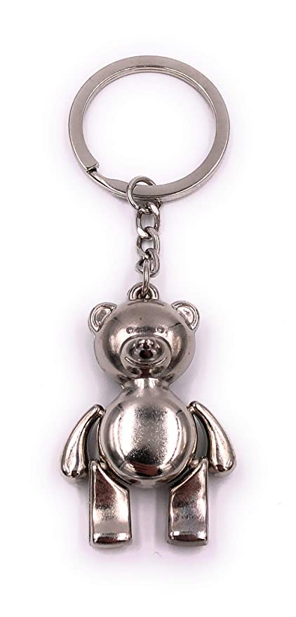 H-Customs Llavero de Plata con Osito de Peluche.: Amazon.es ...