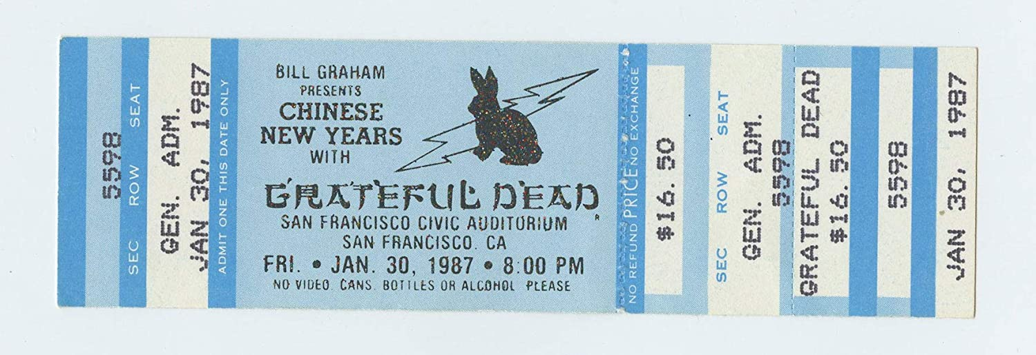 Grateful Dead 1987 Jan 28 Chinese New Year SF Civic Center Unused Ticket