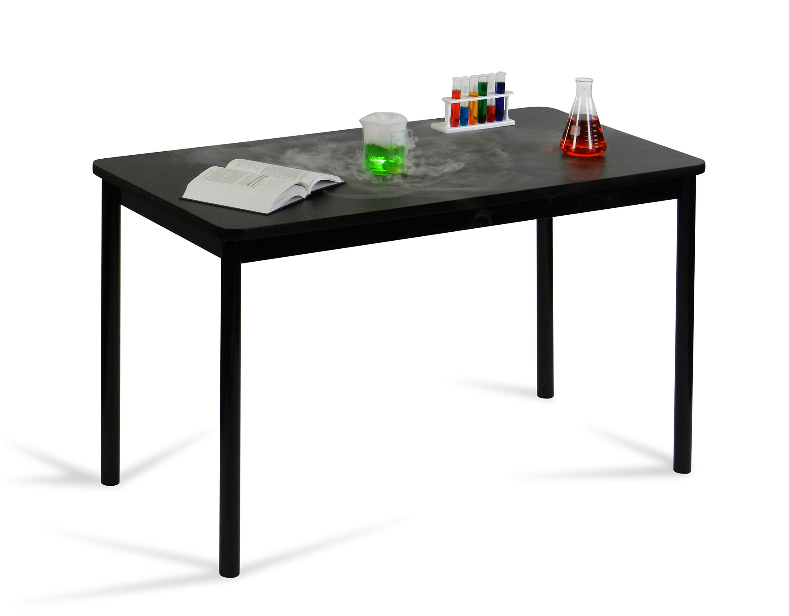 Correll 36'' High Standing / Stool Height Utility Table, 30'' x 48'' Black Granite High-Pressure Laminate Top with Black Frame , Rock Solid Commercial Quality (LT3048-07) by Correll