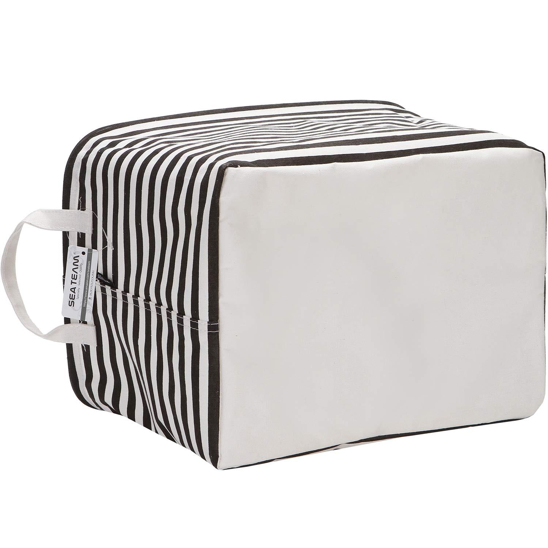 Grey Stripe 16.5 x 11 x 9.8 inches Sea Team Collapsible Rectangular Canvas Fabric Storage Bin Shelf Basket Organizer for Nursery /& Kids Room