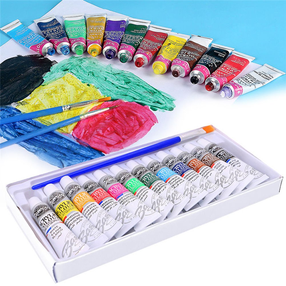 GlobalDeal 12 Colors 6ml Watercolor Paint Set Kids Learning Artist Drawing Painting Pigment