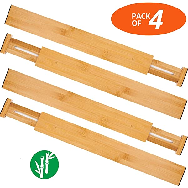 Adjustable Kitchen Drawer Organizer Set Expandable Bamboo Drawer Dividers for Nursery Modessio Baby Supplies /& Clothes 4 Pack Office /& Drawers Organize Utensils