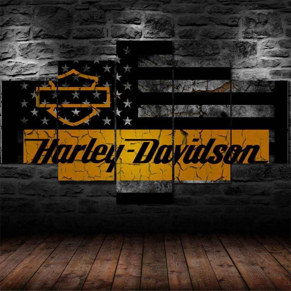 LIVELJ Puzzle 5 Cuadros en Lienzo Modernos Salon Decoracion dormitorios Lona murales Pared Piezas XXL Grande/X-Big Harley Davidson/Sin Marco