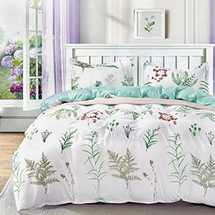 Duvet Covers.Nanko Queen Duvet Covers Set 3 Pieces 1200 Tc Herb Floral Hypoallergenic Microfiber Down Comforter Quite Cover Zipper Tie For Women Men Bed Luxury