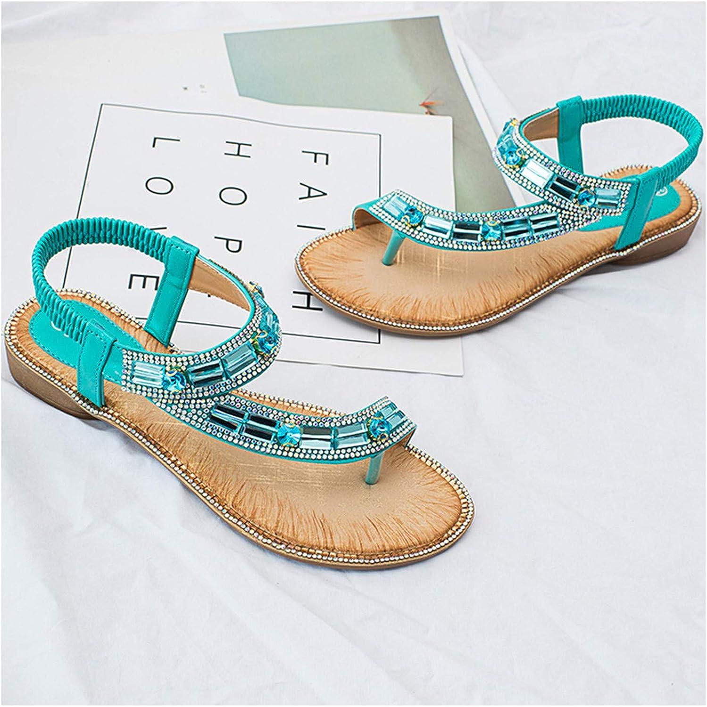 Women Sandals Summer Fashion Style Blue Color Elastic Band Crystal Beaches flip Flops Women