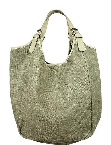 457667d014b5a Schöne praktische Leder Grüne Handtasche aus Leder Adelaide Verde Chiaro  Serp über die Schulter