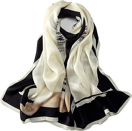 New 100/% Charmeuse Silk Scarf Black White Black Leaves