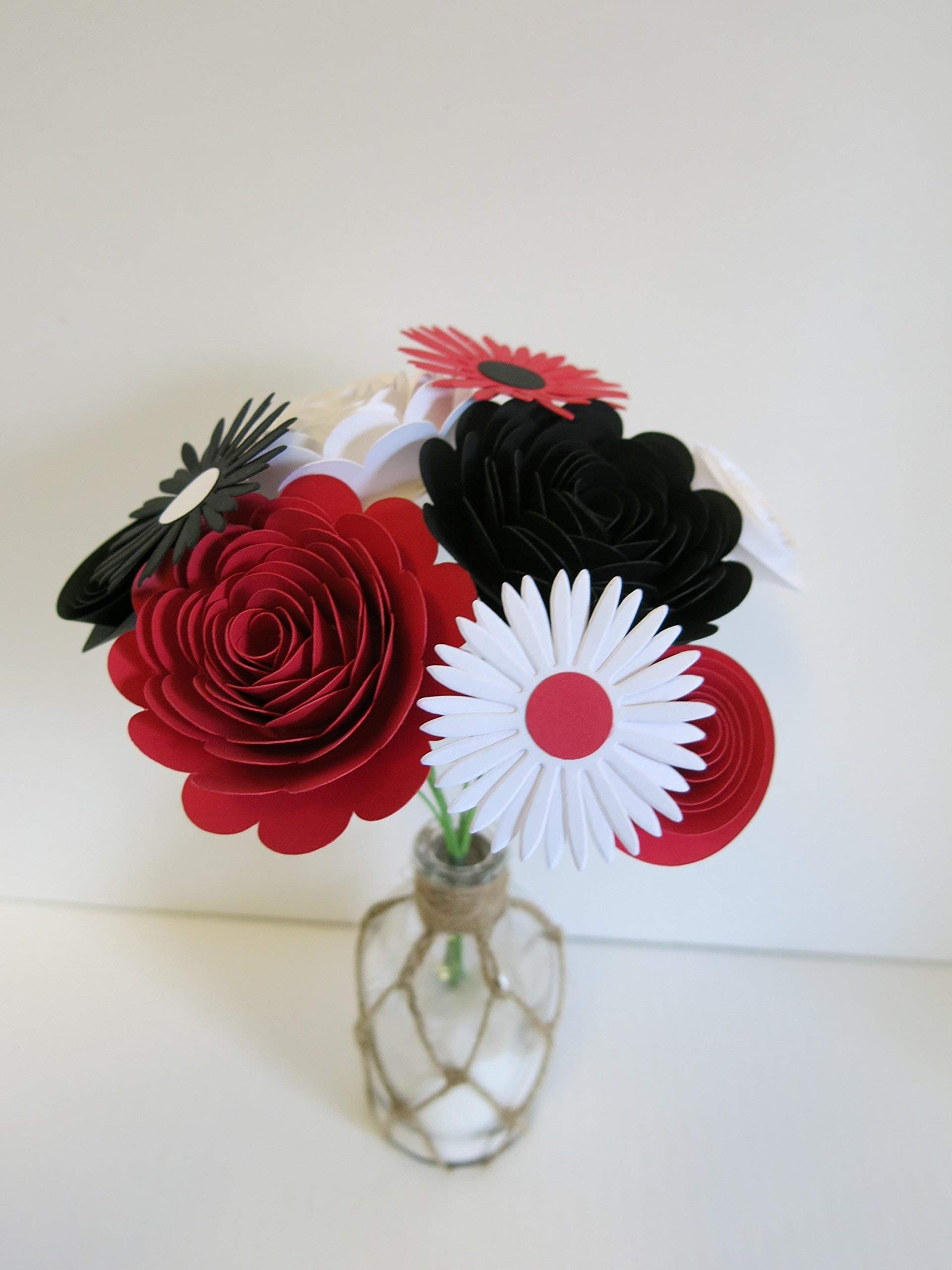 Red, Black and White Mixed Paper Flower Bouquet, Modern Roses and Daisies on Stems, Set of 9 Floral Picks
