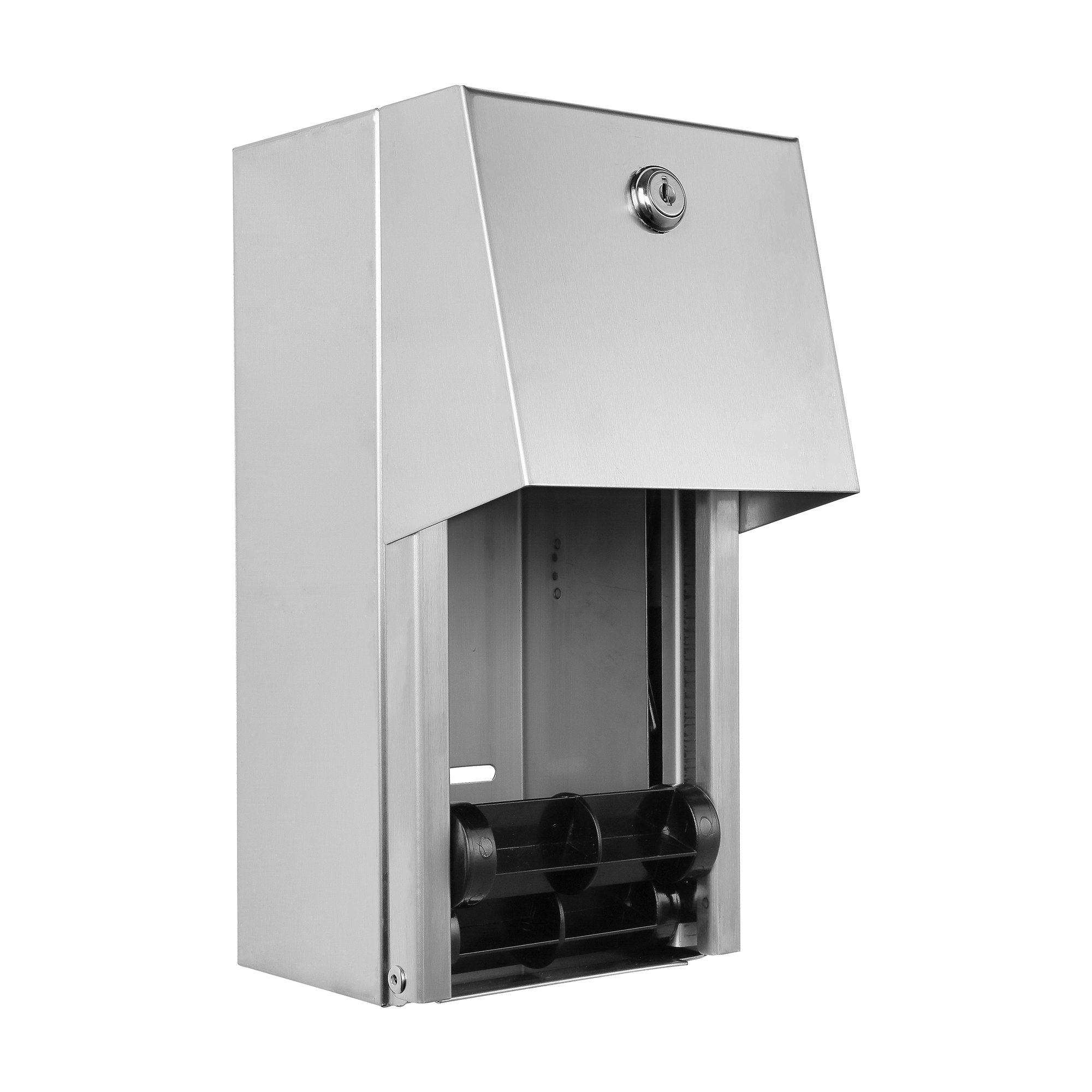 Dual Rolls Toilet Paper Dispenser - Lockable Design - 304 Grade Stainless Steel by Dependable Direct (Image #1)