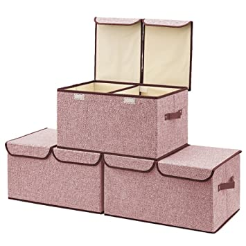 Amazon.com : Large Storage Boxes [3-Pack] EZOWare Large Linen Fabric ...