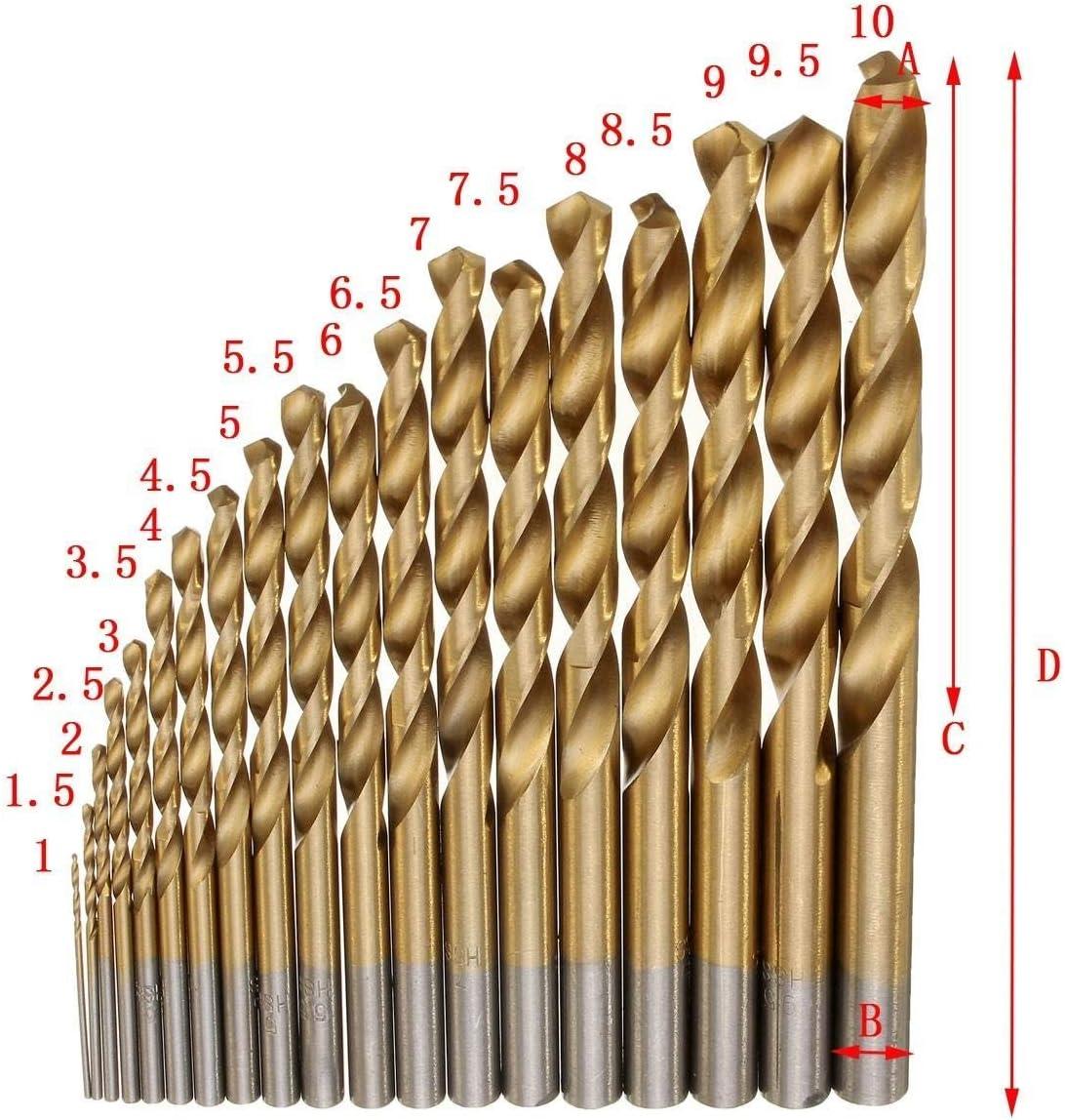 HH-HL Industrial Rotary Drill 19pcs1-10mm HSS Titanium Coated Twist Drill Bit Set Straight Shank Twist Drill for Metal Wood Drilling Drill Accessories Drill Bits Cutting