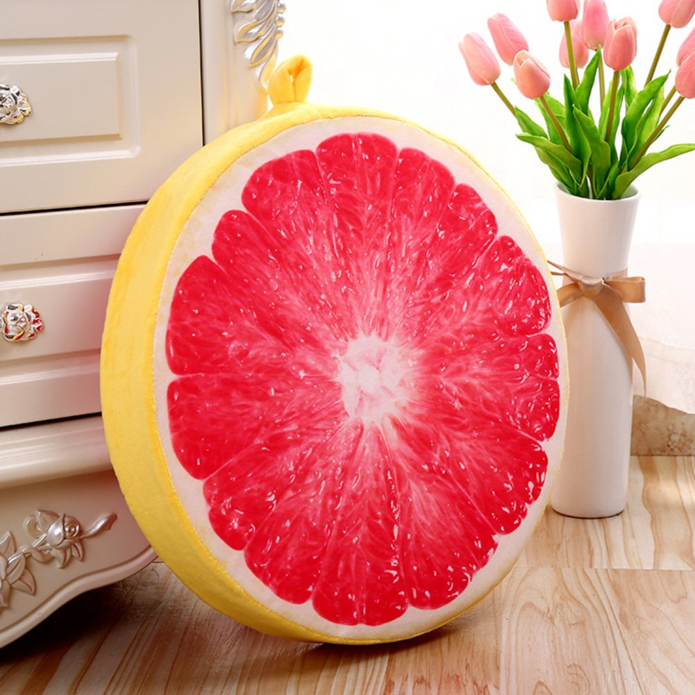 Thicken round floor pillow cushion, plush cushion Boosted Tufted Padded 3d Fruit pattern Chair mat Balcony Windowsill Creative Seat cushioning Backrest For home office washable-H diameter38cm(15inch)