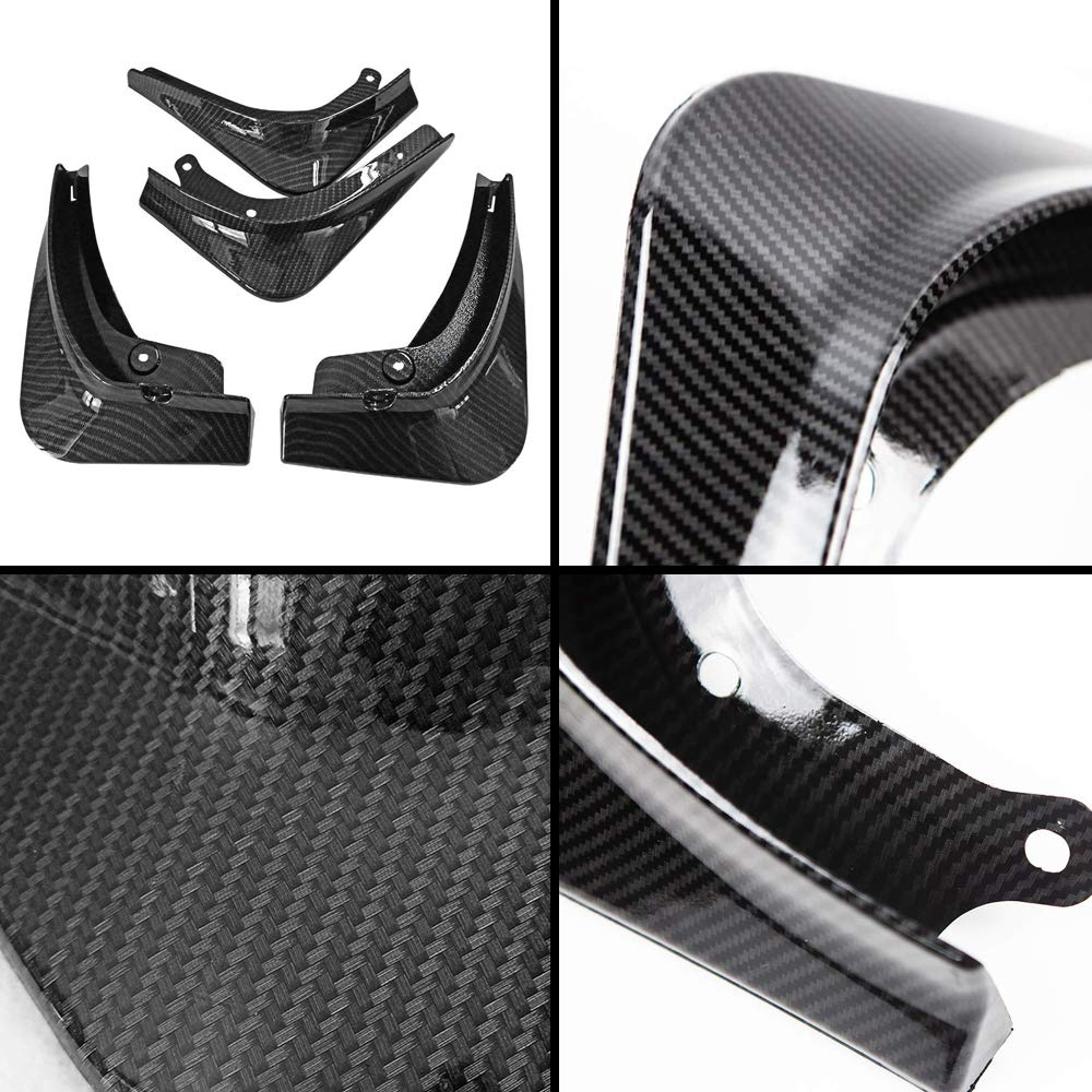 Carbon Fiber Pattern CoolKo Custom Fit Mud Flaps Splash Guards Molded Front and Rear Fender Cover Compatible with Model 3