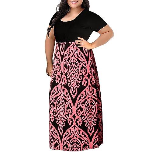 Chevron Print Summer Plus Size Maxi Dresses