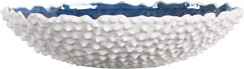 MY SWANKY HOME Textured White Bright Blue Centerpiece Bowl Decorative Coastal Studded