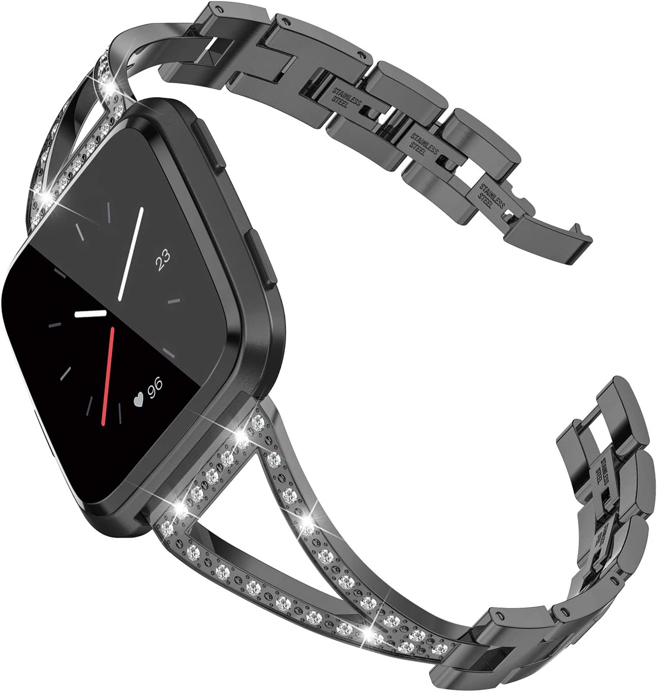 Wearlizer Dressy Bracelet Compatible with Fitbit Versa Bands for Women 3 Colors Available Stainless Steel Versa Bands Small Large Strap Accessories Band Replacement Bracelet for Fitbit Versa Band