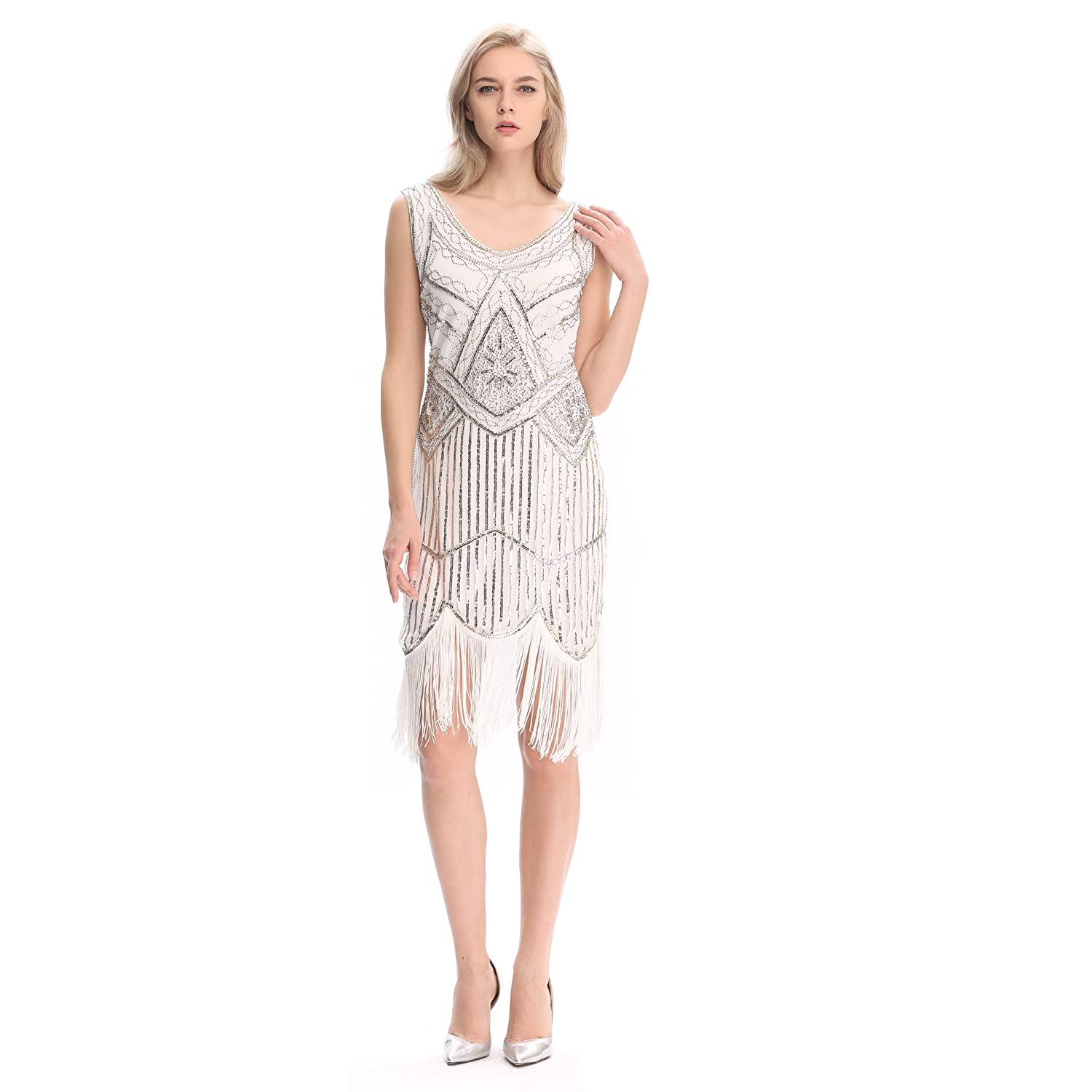 outlet Pilot-trade Women's 1920s Gatsby Vintage Flapper Sequin Party Fancy Dress White