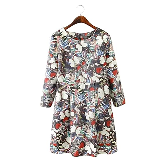 Venetia Morton Fashion Women cute butterfly print pleated dress O-neck three quarter sleeve Vestidos