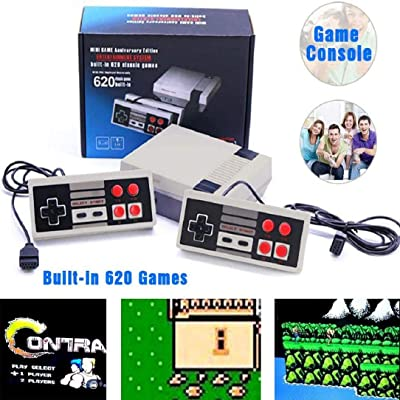NQMEKOF Retro Game Console PIug Play Classic Game 620 Built-in System Game Retro Game Game Console Game: Toys & Games